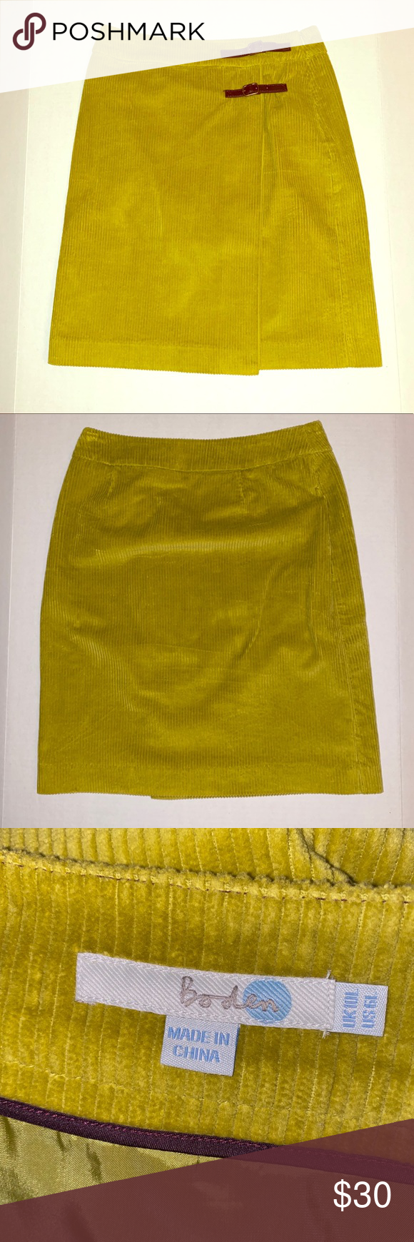 """Boden Skirt Boden corduroy knit skirt. Faux wrap front and faux leather tabs. Fully lined, excellent condition.   Approximate measurements - Waist: 14"""" - Length: 21""""  -0383 16"""
