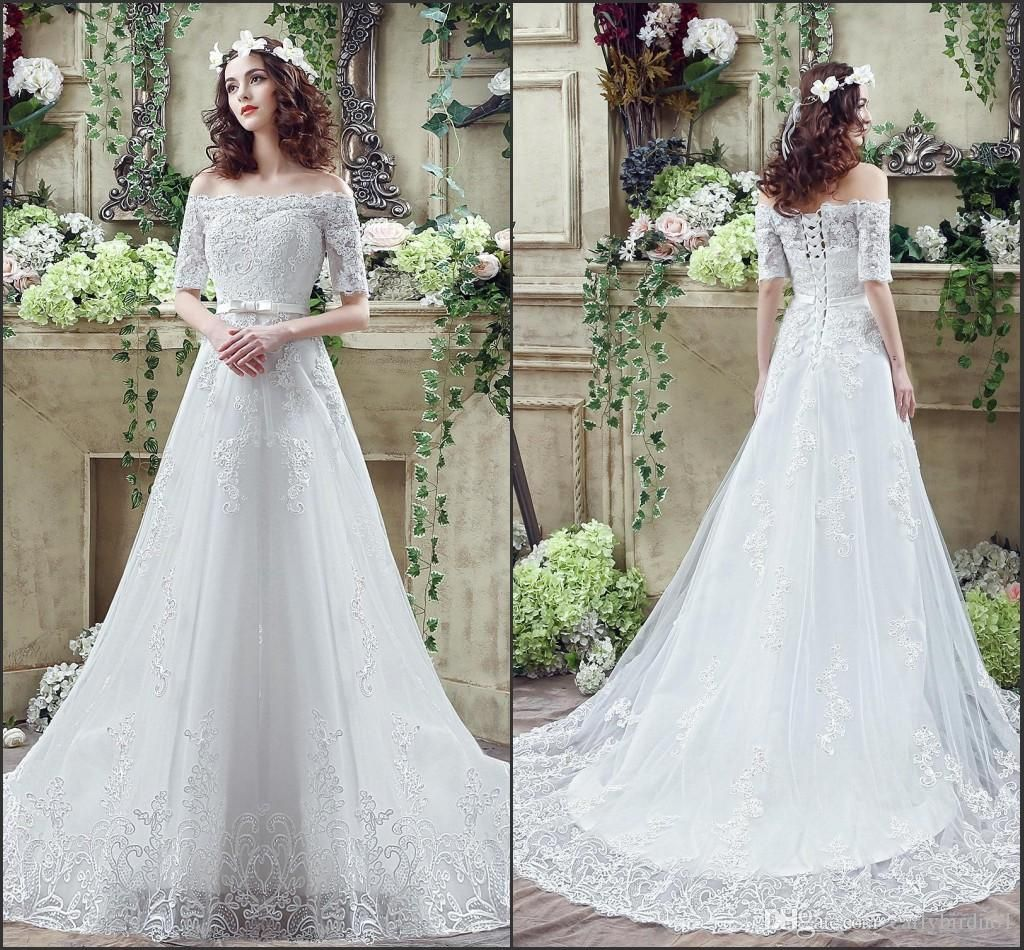 Discount Vintage Lace Wedding Dresses 2017 Cheap Off Shoulder Bridal ...