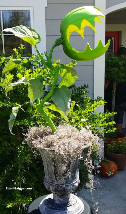 DIY Easy Man Eating Plant Tutorial Could stick these in the garden - halloween decorations for the yard