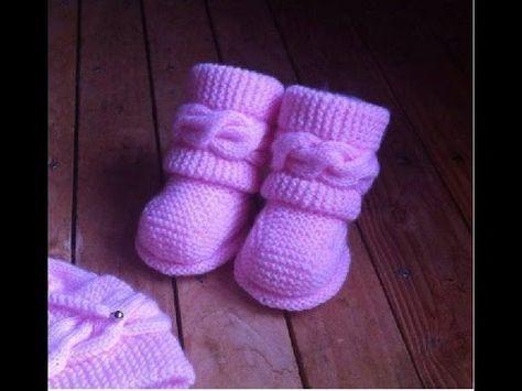 getlinkyoutube.com-Dos agujas Botitas bebe Uggs parte 2/2 Patucos botas zapatitos bebe tejidos a dos agujas