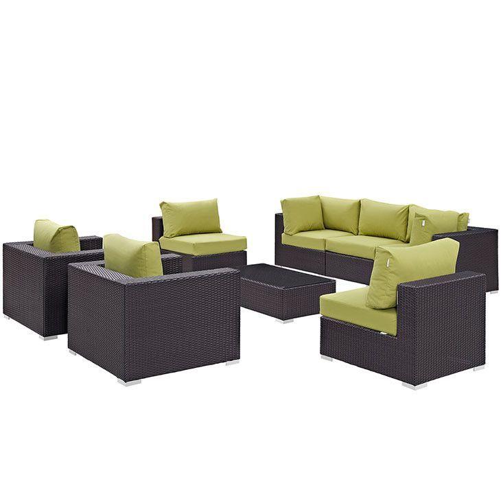 Modway Furniture Modern Convene 8 Piece Outdoor Patio Sectional Set