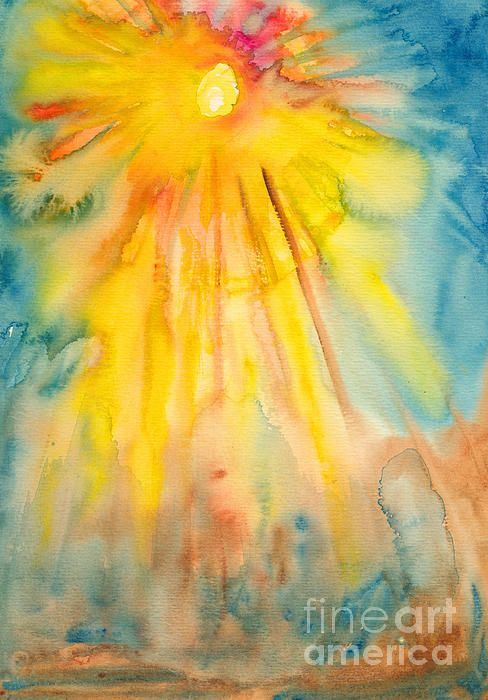 Sun And Sunlight In 2020 Sun Painting Watercolor Paintings