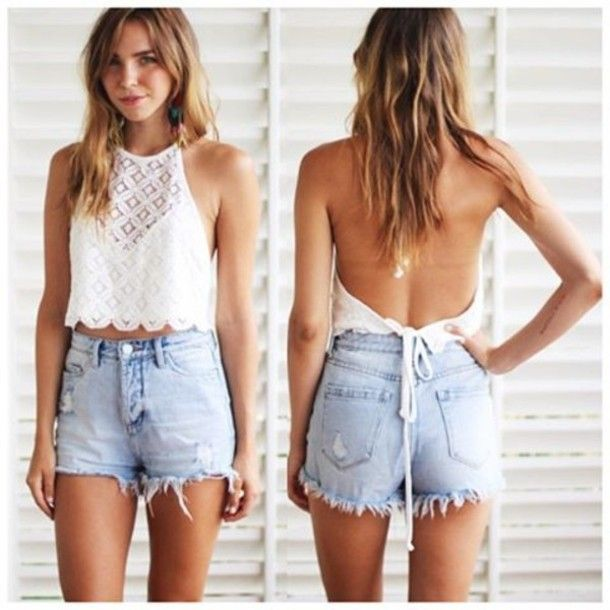 white crop top and skirt | Women top | Pinterest | High waisted ...