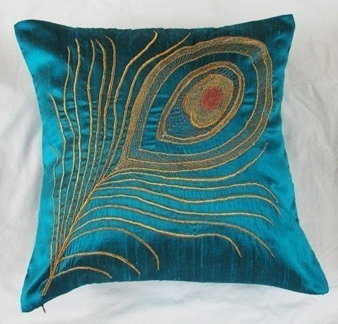 Teal Blue Peacock Pillow Cover 16 Inch Peacock Feather Cushion