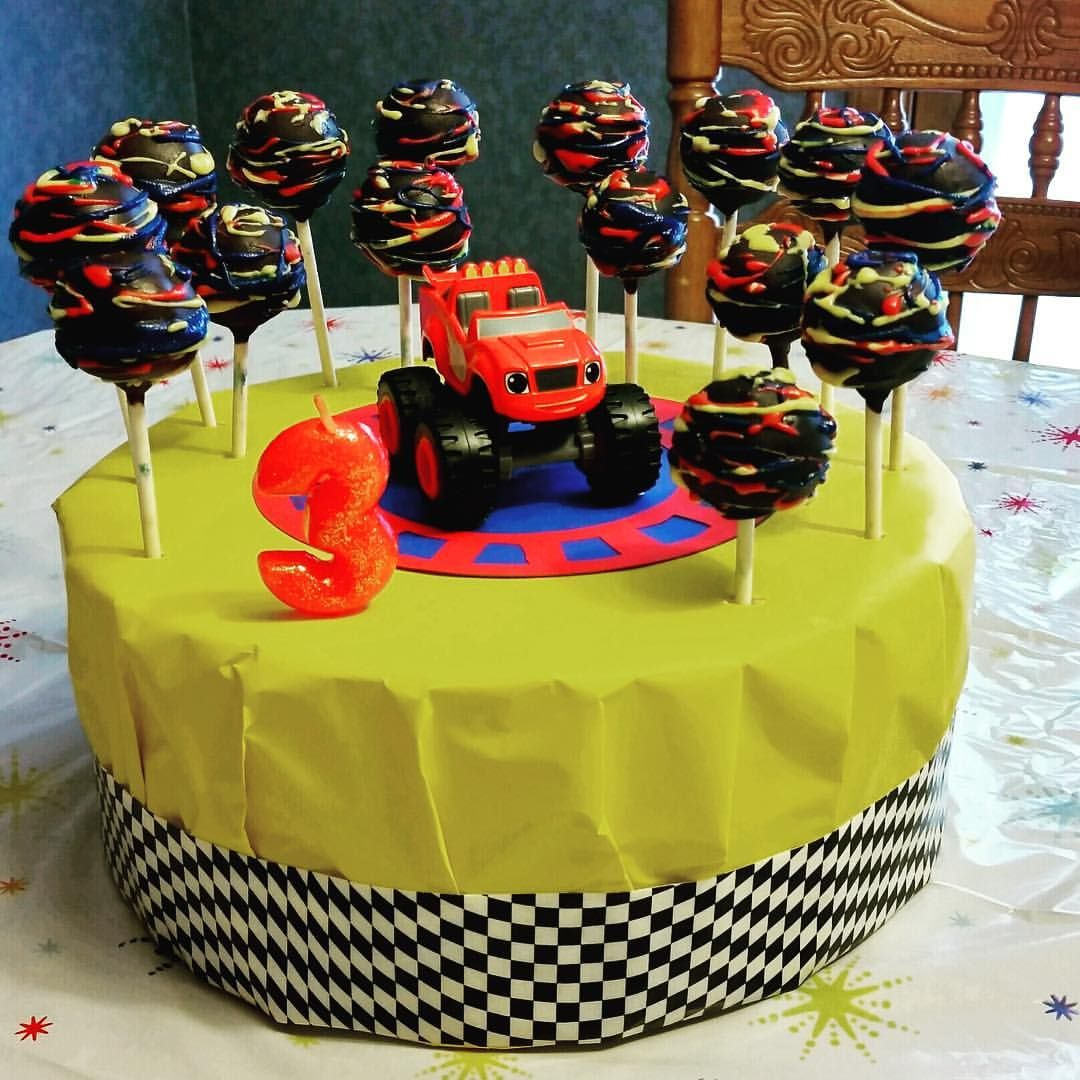 Love When Customers Send Me Photos Of Their Parties This Cake Pop Stand Customer Made For Her Blazeandthemonstermachines Theme Party