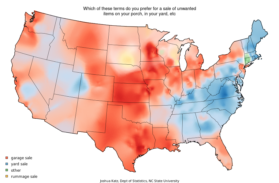 22 Maps That Show How Americans Speak English Totally Differently From Each Other! - Amazing!  This one is about what you call the sale of unwanted items outside your house... Check this out and see the amazing variety of language in our country! ~ by Joshua Katz, a Ph. D student in statistics at North Carolina State University