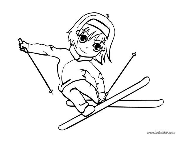 Skiing girl coloring page. You will find your favorite coloring ...
