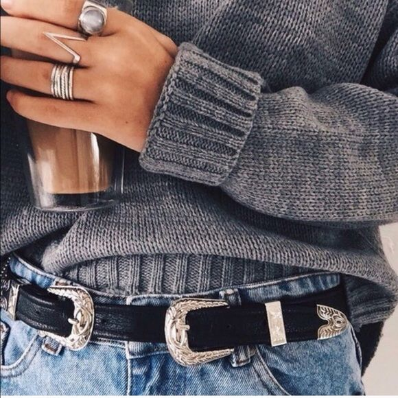 963524683 Black Double Buckle Western Style Belt So stylish!! Black double buckle  western style belt, gold-silver accents, bonded leather, last pic is actual  belt.