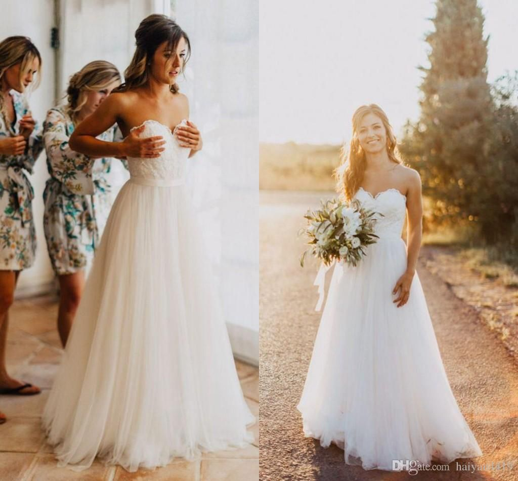 new cheap country summer beach wedding dresses sweetheart lace