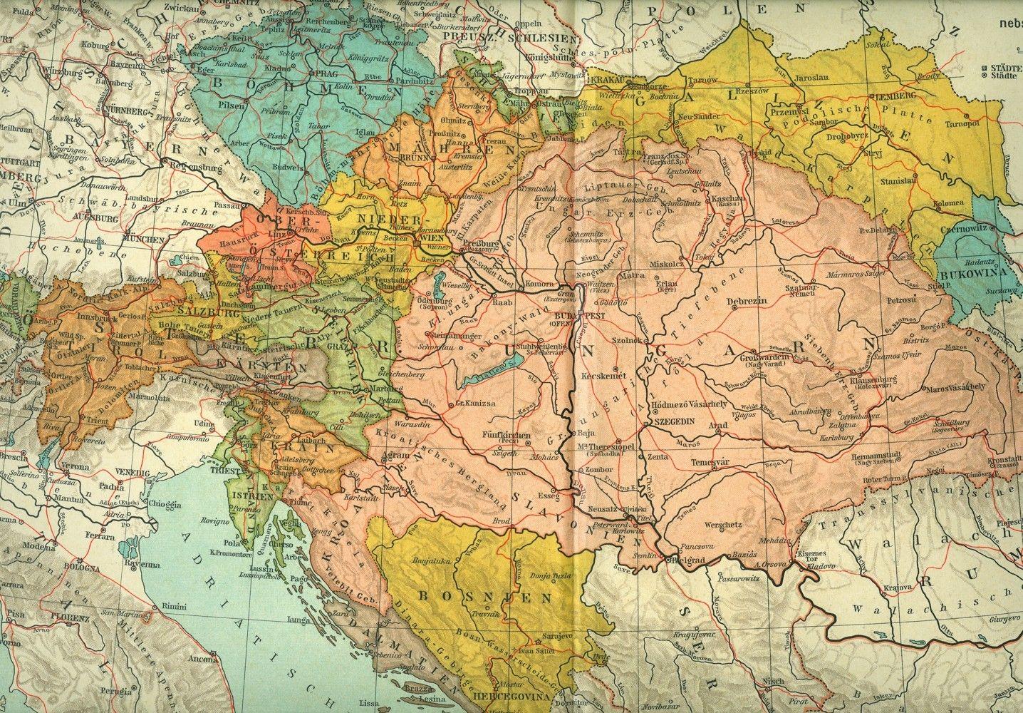 Austria Map Hires Ungarn Landkarte Und Osterreich