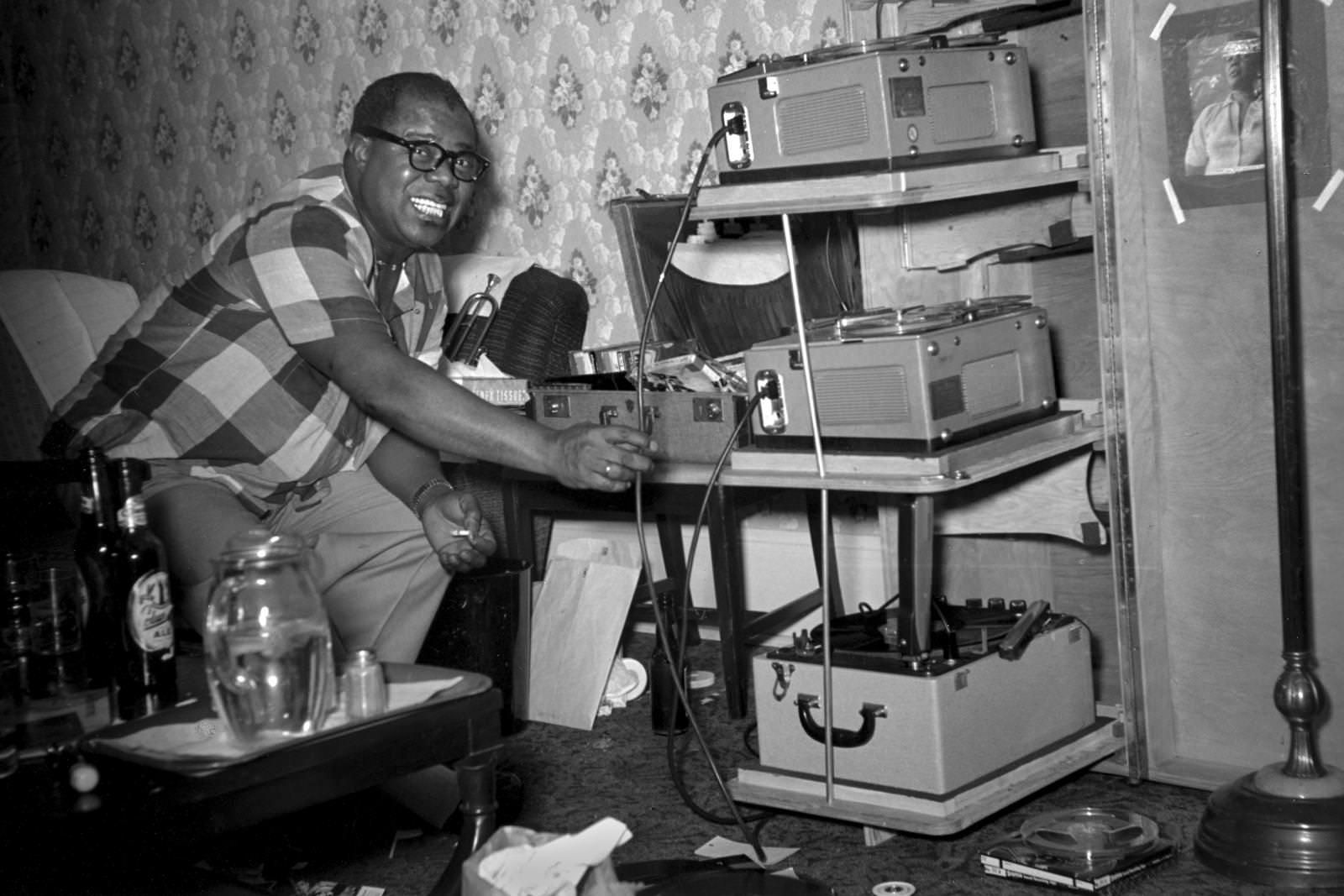 Louis Armstrong travelled with his tape recorders.
