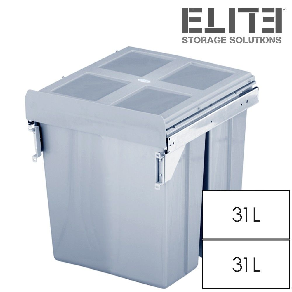 This twin 62L bin unit comprises two 31-Litre bins for optimal waste ...