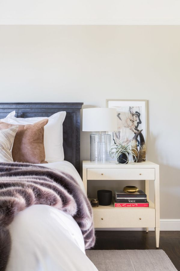 Gorgeous faux fur throw and styled bedside table: http://www.stylemepretty.com/living/2016/07/27/how-to-rock-not-one-but-two-pink-sofas-in-your-home/   Photography: Alyssa Rosenheck Photography - http://alyssarosenheck.com/