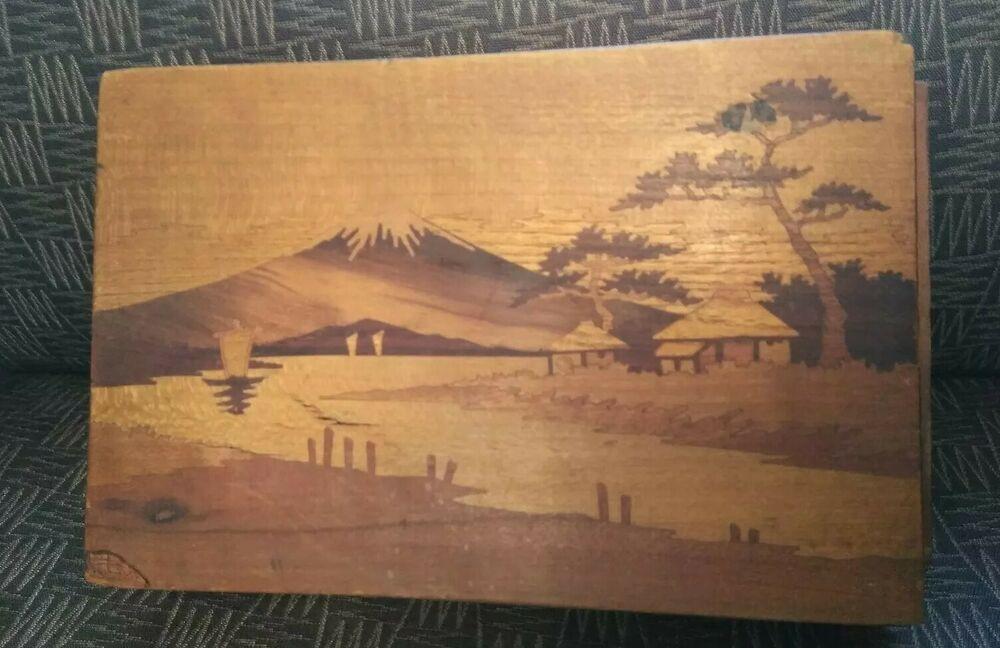 Vintage Japanese Wooden Inlaid Puzzle Box With Secret Locking