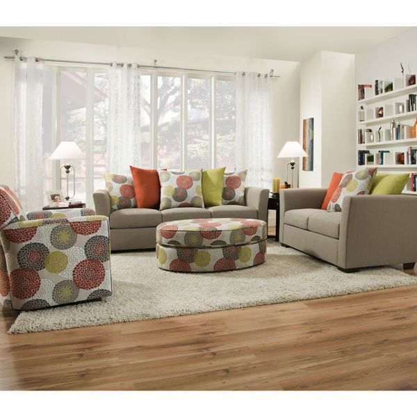 The Furniture Warehouse   Simmons Sofa And Loveseat In Color Playground  Light French Grey With Crysanthemum Persimmon Pillows.