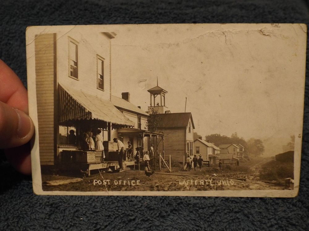 VERY RARE RPPC POST OFFICE LAFFERTY OH OHIO JUERGENS BREAD CRATES ON PORCH
