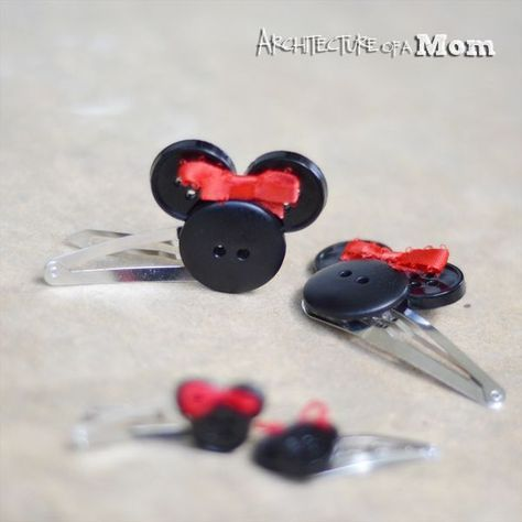Architecture of a Mom: Minnie Mouse Button Hair Clips architectureofamom.com