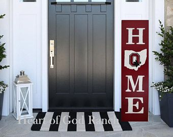 HOME Porch Sign Welcome Wreath Personalized Pip Berry 5' As for Me My House Reversible Option Two Sided Family Wood Sign Hand Painted