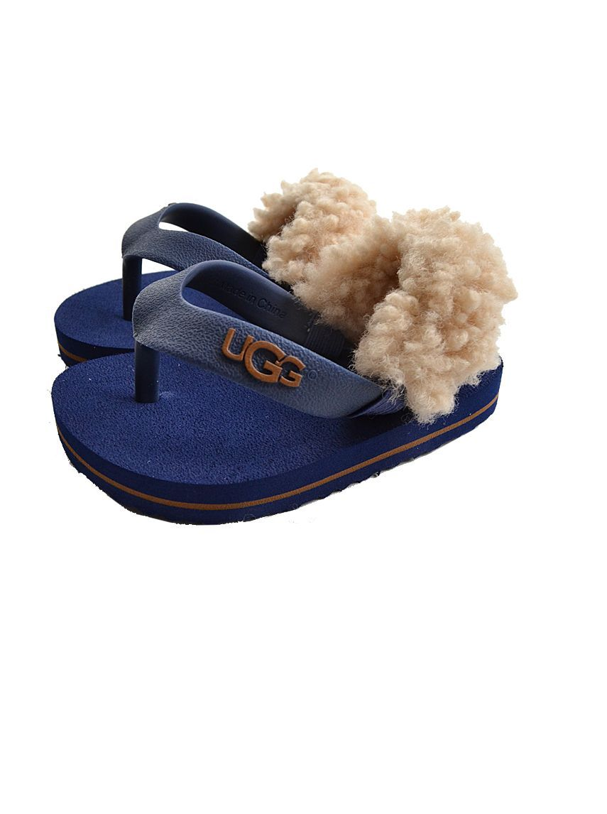 Ugg Kids Ugg toddler blue fur lined flip flops