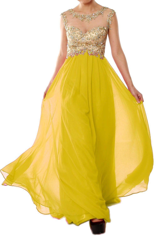 Macloth women cap sleeve gold lace chiffon long prom dress evening