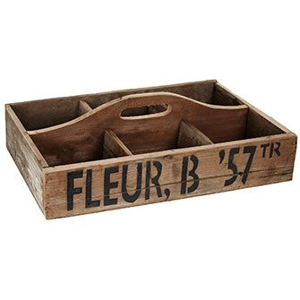 Wooden Fleur Trug T K Maxx 1999 Trugtotecaddy Tray Flatware