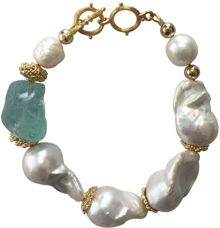 Natural Baroque Pearls & Green Fluorite Bracelet by Farra #pearljewelry