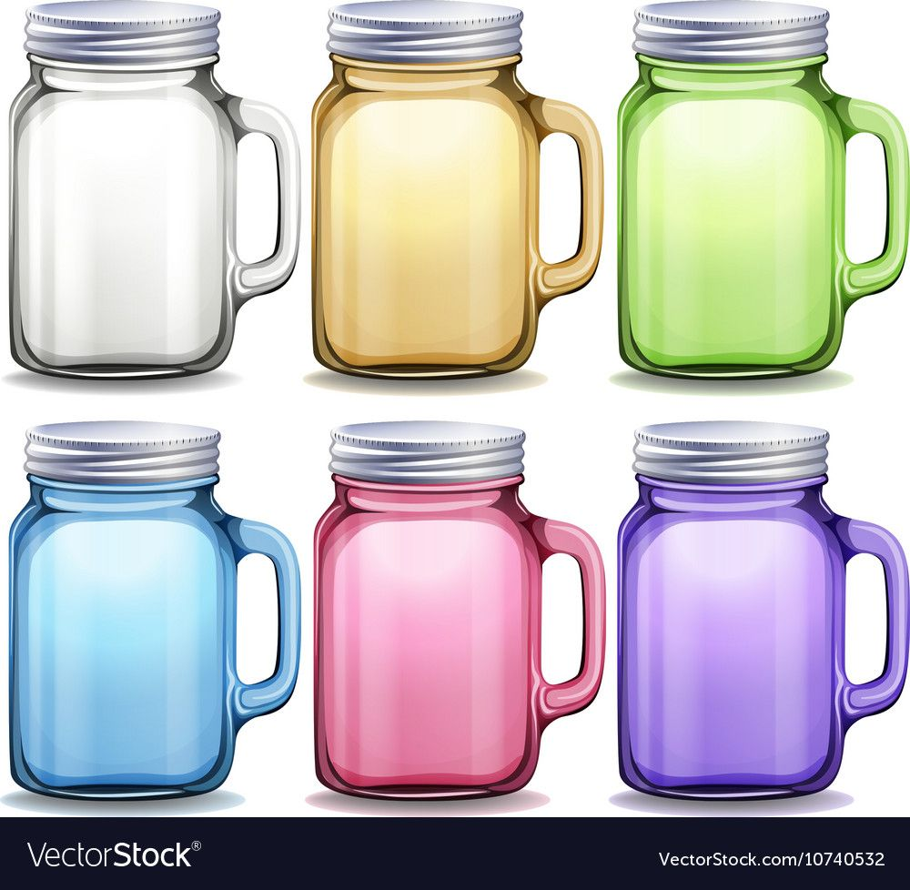 Glass Jars In Six Different Colors Download A Free Preview Or High Quality Adobe Illustrator Ai Eps Pdf And High Resolution Jp Glass Jars Color Vector Color