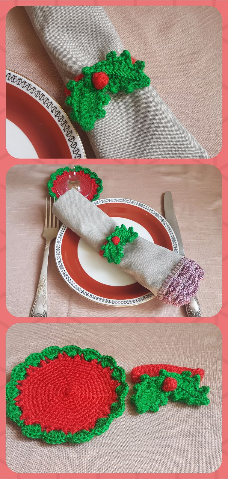 Christmas Decor Christmas Decorations Napkin Rings Holly Berry