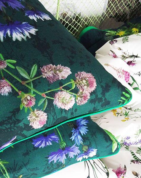 poszewka na poduszkę kwiaty polne szmaragd 40x40   Outdoor