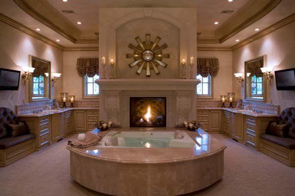 51 Mesmerizing Master Bathrooms With Fireplaces Dream Bathrooms Bathroom Design Luxury Mediterranean Bathroom Design Ideas