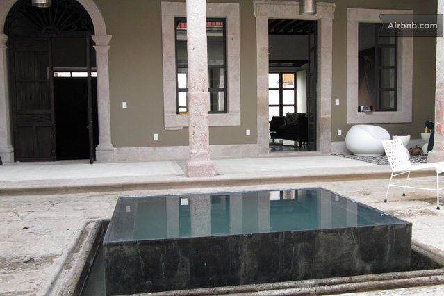 Central Patio With Infinity Edge Fountain Water