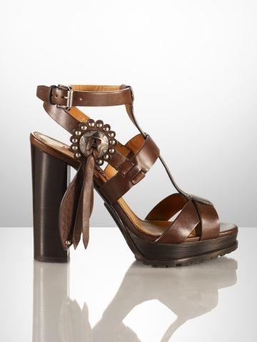 Sharilla Leather Concho Sandal Ralph Lauren Collection Cashmere