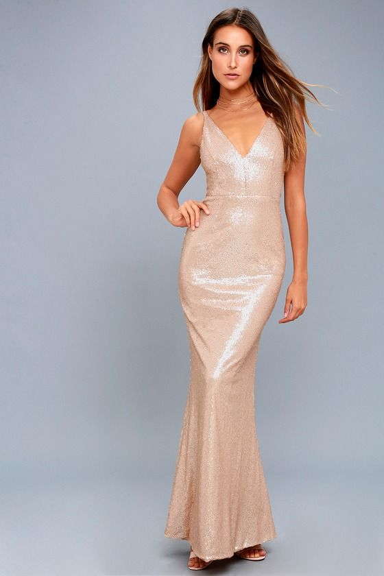 Here to Wow Matte Rose Gold Sequin Maxi Dress | Pinterest | Bridal ...