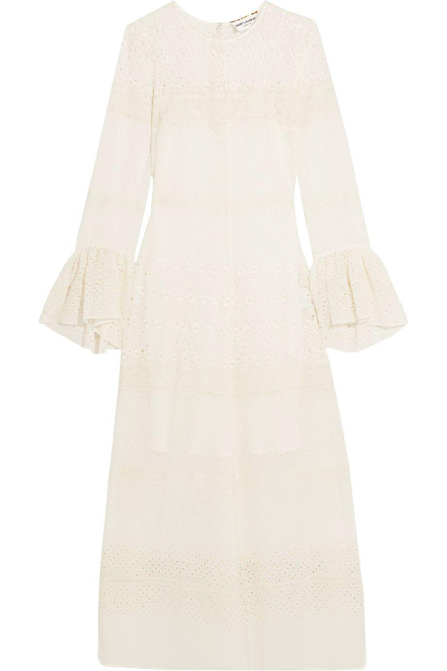 Saint Laurent | Ruffled broderie anglaise georgette midi dress | NET-A-PORTER.COM