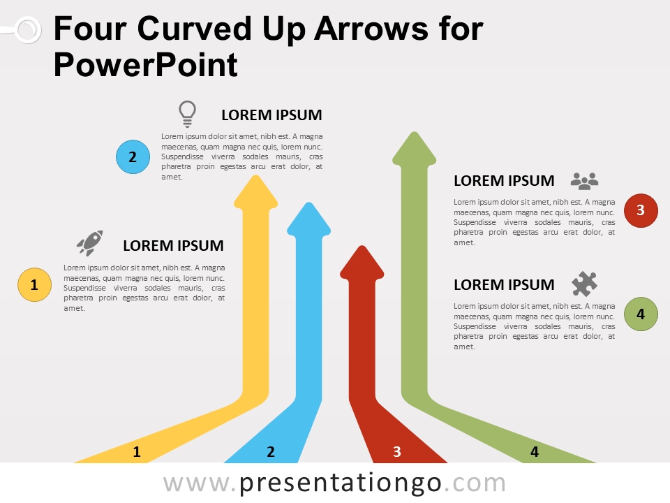 Four Curved Up Arrows For Powerpoint Presentationgo Com Up Arrow Powerpoint Powerpoint Slide Designs
