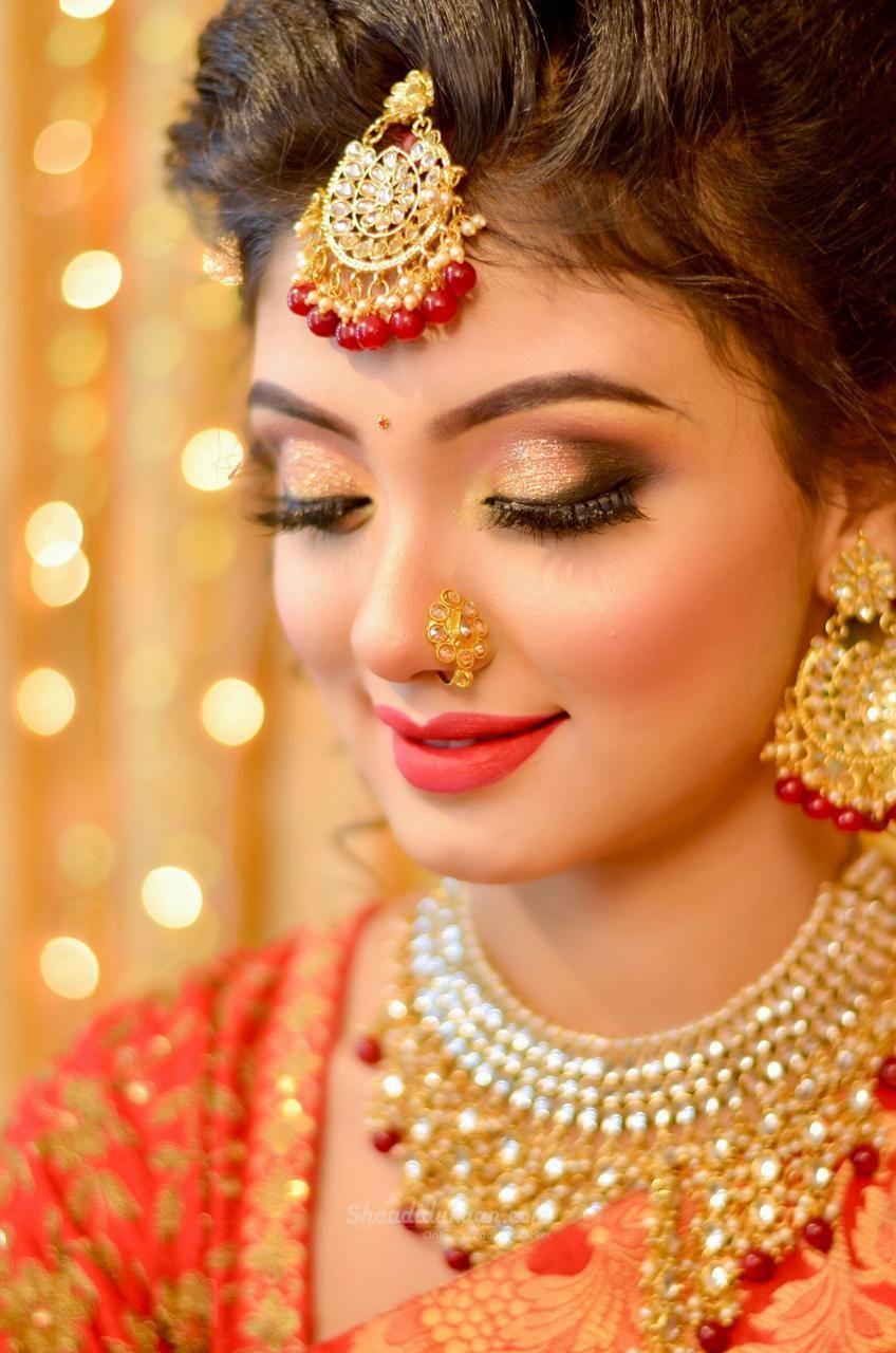 Bridal Makeup Indian wedding jewelry, Bridal makeup