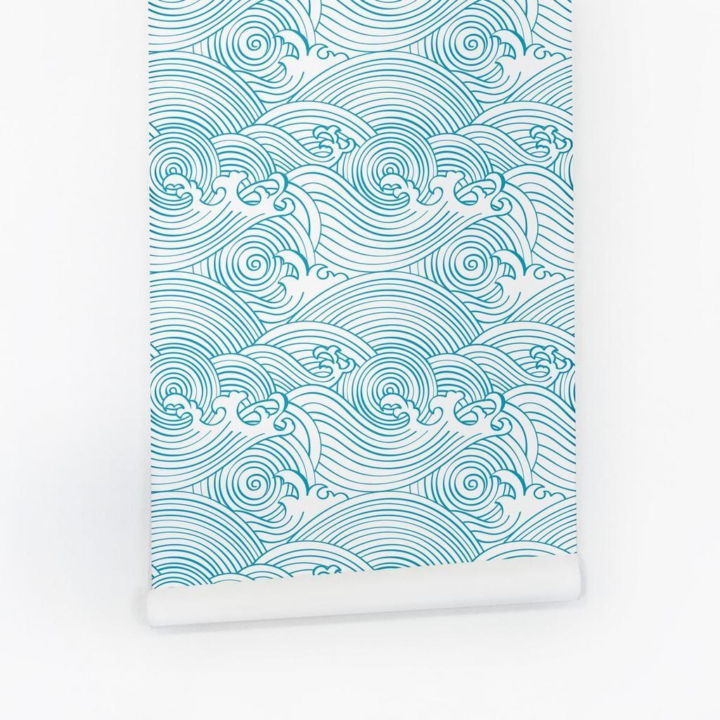Waves Pattern Nursery Removable Wallpaper Waves Wallpaper Removable Wallpaper Nursery Removable Wallpaper