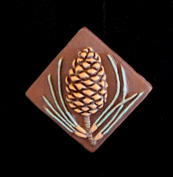 Set of 4 Pine Cone Pinecone Relief Tiles 2 inch by powderhounds, $24.00