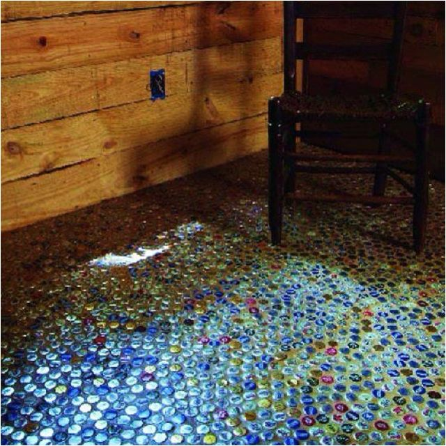 Recycled bottle caps made into a floor