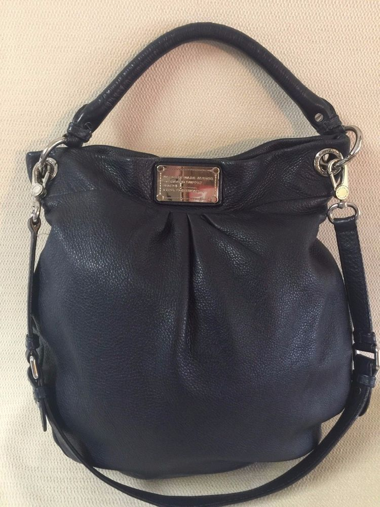 1e84ecd607 Marc Jacobs Classic Q Hillier Navy Blue Soft Pebble Leather Hobo Shoulder  Bag  MarcbyMarcJacobs  Hobo