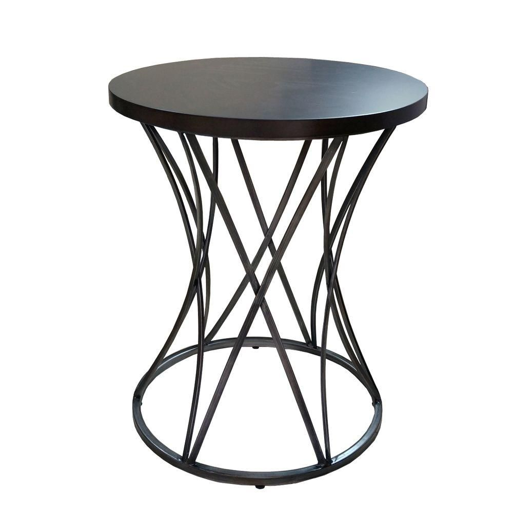 Amber Antique Silver End Table, Antique Silver With Hand Paint