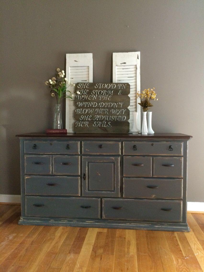 Dark Gray Distressed Dresser Www Facebook Com Houseofkrafts Distressed Dresser Distressed Furniture Diy Distressed Furniture