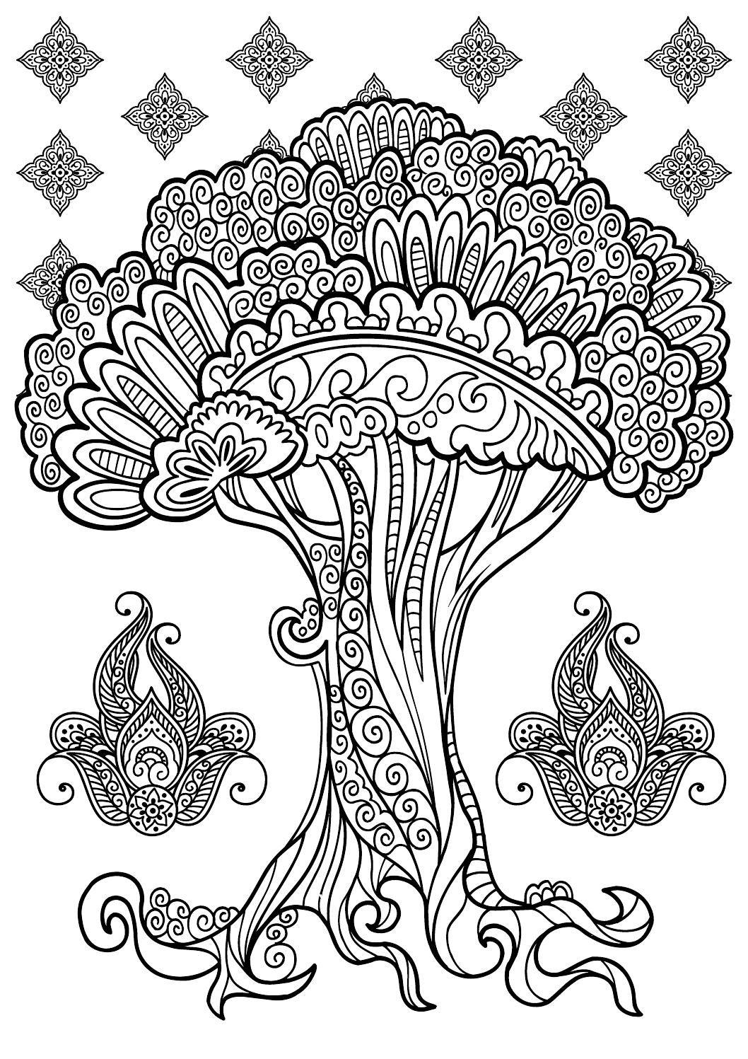 Indiski rastai Tree coloring page, Tree of life art