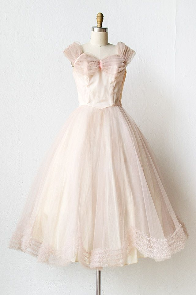Vintage 1950s Pale Pink Tulle Prom Dress Fairy Frost