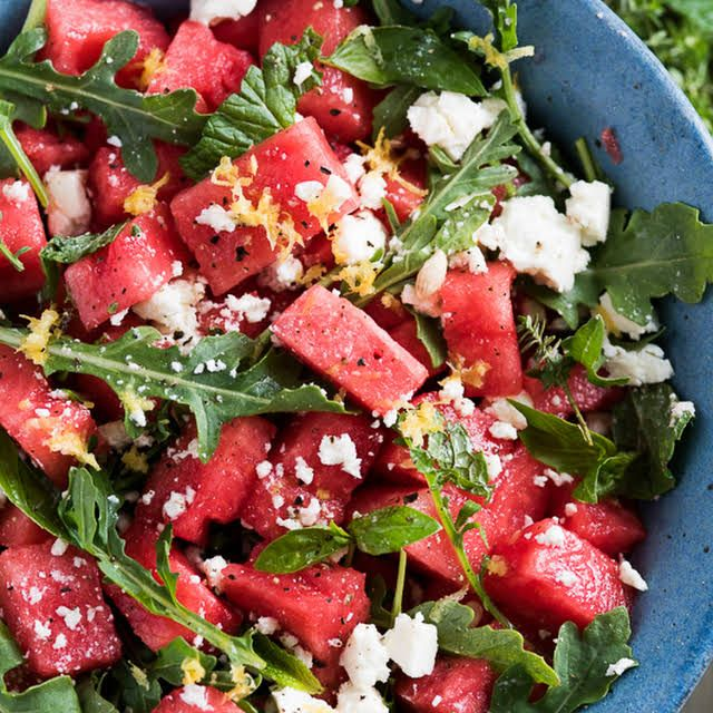 Arugula Watermelon Feta Salad with Your Favorite Fresh Herbs Recipe | Yummly