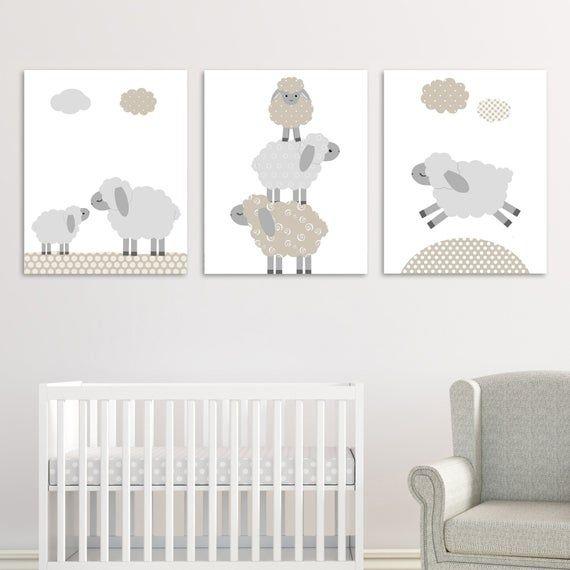 Lamb Nursery Decor, Sheep Wall Art, Gender Neutral