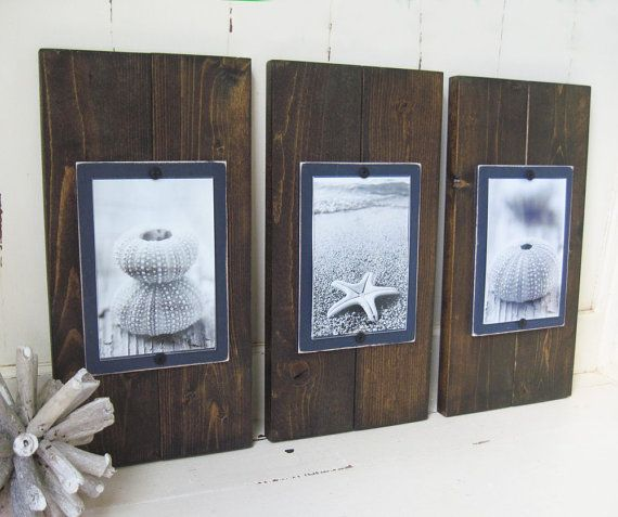 Set Of 3 Plank Frames For 4x6 Dark Stain And By Projectcottage
