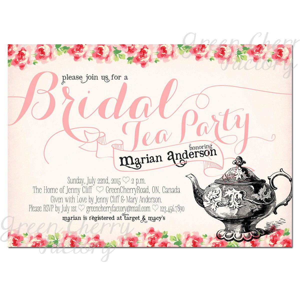 Tea Party Invitation - Bridal Baby Shower Birthday Tea Party Invites ...