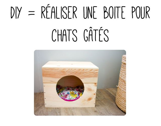 tuto diy une cachette pour chat boite chats et diy. Black Bedroom Furniture Sets. Home Design Ideas