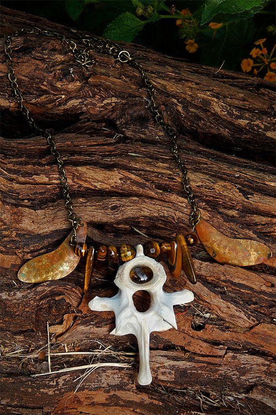 Tigers eye vertebra bone pendant
